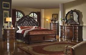 Mc Ferran high end Tuscan collection bedroom set leather marble top ...