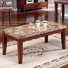 Steve Silver Montibello Brown Rectangular Coffee Table With Marble Top