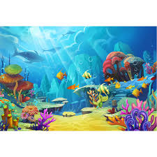 2019 Sunshine Through Deep Blue Ocean Under The Sea Backdrop Fishes Colorful Baby Kids Birthday Party Photo Background From Knite08 27 98