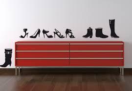 fashion high heels shoe wall art black wall stickers home