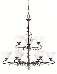 forecast lighting brronze umber with etched white opal glass 9 light chandelier