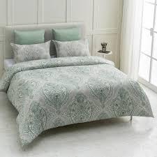 genia wrinkle resistant reversible print 100 organic cotton green king duvet cover set