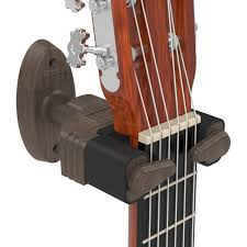 guitar wall hanger auto lock mount display rack wood grained electric bass new