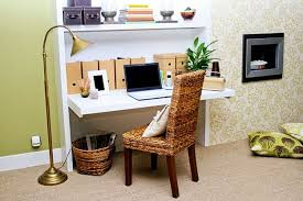 home office sitting room ideas. Decorations : Minimalist Home Office Space Decor Ideas With Simple White Painted Wooden Folding Computer Desk And Brown Laminated Rattan Chair Also Gold Sitting Room N