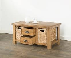 hartford solid oak coffee table with baskets