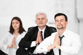 meditation office. Business People Relaxing In Meditation Pose Office Stock Photo - 96407656