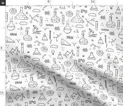 Science Physics Fabric By The Yard Cool Back To School Science Physics And Math Class Student Illustration Black And White