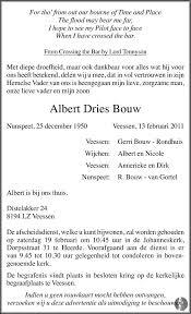 Albert Dries Bouw ✝ 13-02-2011 overlijdensbericht en condoleances -  Mensenlinq.nl