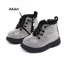 <b>AAdct</b> Cotton warm crystal little girls boots Non slip shinning baby ...