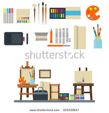 creative furniture icons set flat design. Creative Furniture Icons Set Flat Design. Painting Art Tools Palette Icon  Vector Illustration Design