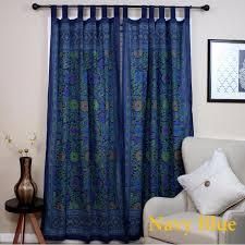 out of stock lemon yellow handmade 100 cotton sunflower fl tab top curtain d door panel navy blue gray yellow