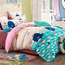 navy blue aqua blue and pink ocean scene whale and fish print funky kids 100 cotton twin full size bedding sets