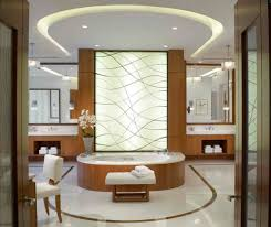 Bathroom Glamorous Modern Master Bathroom With Glowing Wall And