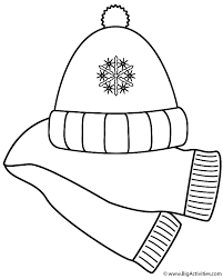 Small Picture Scarf and Winter Hat Coloring Page Clothing