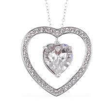from the heart white swarovski crystal heart pendant necklace in 14k rg over sterling silver 18 in pendants jewelry lc