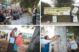 community members activists and volunteers bid au to about a half dozen trees designated for removal from venice high s learning garden with a