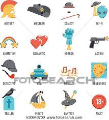Film Genres Film Genres Icon Set Clipart K30643700 Fotosearch