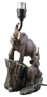 migration of the majestic elephant family safari desktop table lamp statue decor for