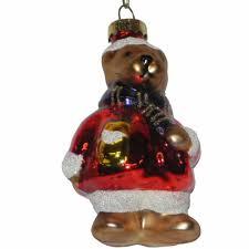 X Mas Christbaumschmuck Funny Bear Und Lila Schal Glas