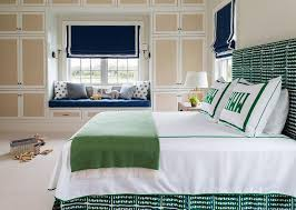 blue and green boy bedroom with fabric cabinet doors