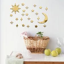 sun moon stars diy acrylic mirror wall art sticker decals removable home decor 2 on gold stars wall art with phoenix sun moon stars diy acrylic mirror wall art sticker decals