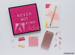 Colorful office accessories Yellow Pink Letter Board Quote On Desk With Agenda Colorful Office Accessories And Mobile Phone 123rfcom Pink Letter Board Quote On Desk With Agenda Colorful Office