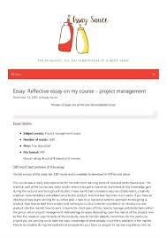Reflective Essay On My Course Project Management Project