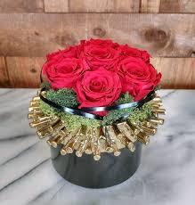 preserved red rose arrangement