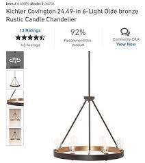 kichler covington 24 49 in 6 light olde bronze rustic candle chandelier