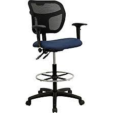 office drafting chair. flash furniture navy blue fabric and mesh drafting stool w/ arms office chair m