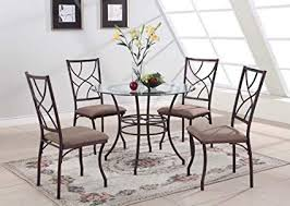 king s brand 5 pc set brand round gl metal dining room kitchen table and