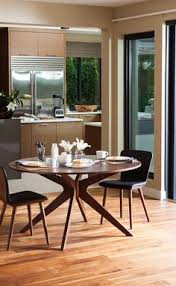 a peaceful e made inviting by the conan round table and sede leather dining chairs