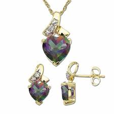 mystic fire topaz heart pendant and earrings set in 10k gold with diamond accents