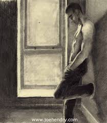 window pencil drawing. male pencil drawing window