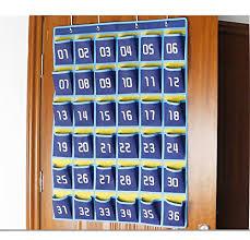 Cell Phone Pocket Chart Racheljp Numbered Classroom Pocket Chart Calculator Pocket Organizer Cell Phone Hanging Holder 36 Pockets Blue