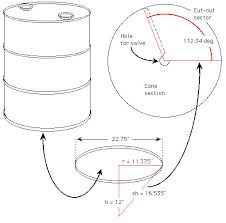 55 Gallon Drum Inches To Gallons Chart How To Make A Cone Bottomed Processor Making A Cone