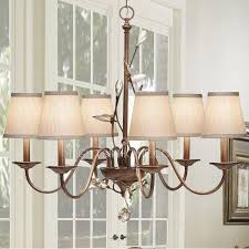 impressive 6 light chandelier with shades country 6 light fabric shade painting finish rustic chandeliers