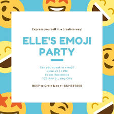 Blue And Yellow Smiley Emoji Party Invitation Templates By