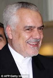 Row: Mohammad-Reza Rahimi's blistering diatribe, saying Britons were 'not human', was condemned by Simon Gass, Britain's ambassador in Tehran, right - article-1302353-0AC4B959000005DC-123_224x329