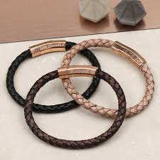 mens personalised rose gold clasp leather bracelet