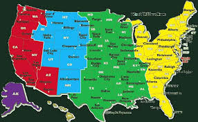 Usa Map According To Time Zone Usa States Time Zones Time