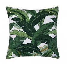 Island Hopping Emerald Green Outdoor Green Leaf Pillow