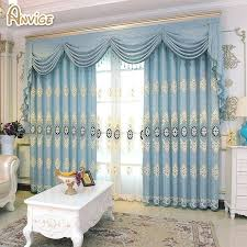 Luxury Curtain For Bedroom Kitchen Curtains For Living Room Window Curtain  With Valance Blue Color Cortina
