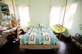 bedroom fun. Unfinished Small Hanging Bed With Wooden Frames And Corner Egg Chairs In Boys Bedroom Decors Photos Fun I