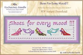 Shoe Lover Cross Stitch Colour Pdf Dmc Chart Cross Stitch Pattern Shoe Pattern Instant Download Cross Stitch Pdf