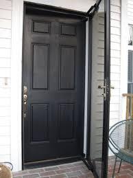 Black Front Door With Black Storm Door And Using Dark Screen For ...