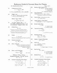 physics reference table fresh college formula sheet