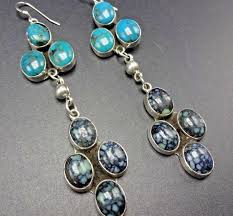 signed navajo sterling silver new lander turquoise cer chandelier earrings 1 of 12only 1 available