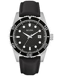 bulova watches macy s bulova men s black leather strap watch 43mm 98b275