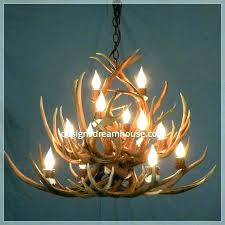 faux antler chandelier white deer small whitetail one rustic for chandeli